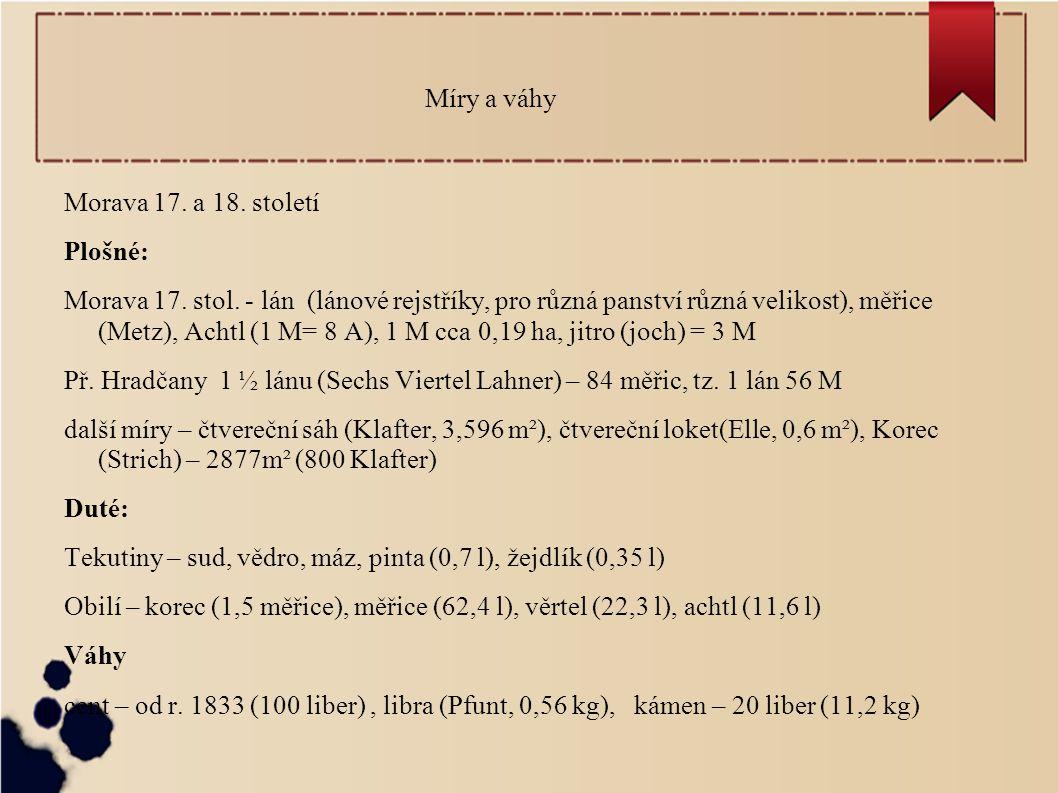 Míry a váhy Morava 17. a 18. století. Plošné: