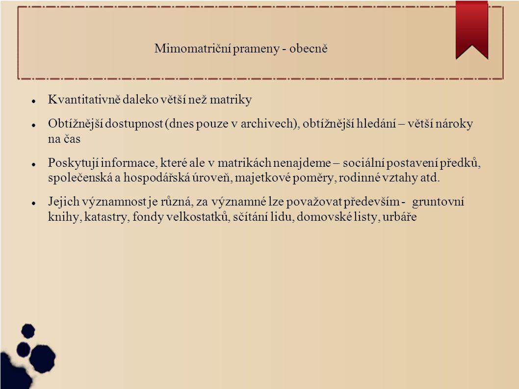Mimomatriční prameny - obecně