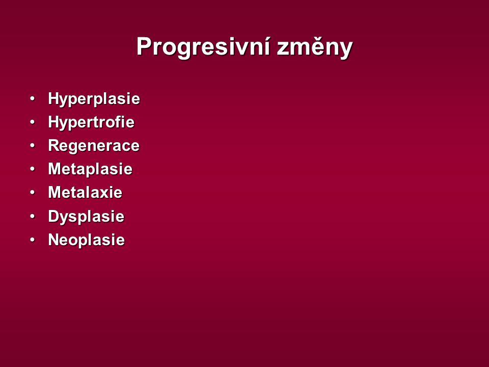 Progresivní změny Hyperplasie Hypertrofie Regenerace Metaplasie