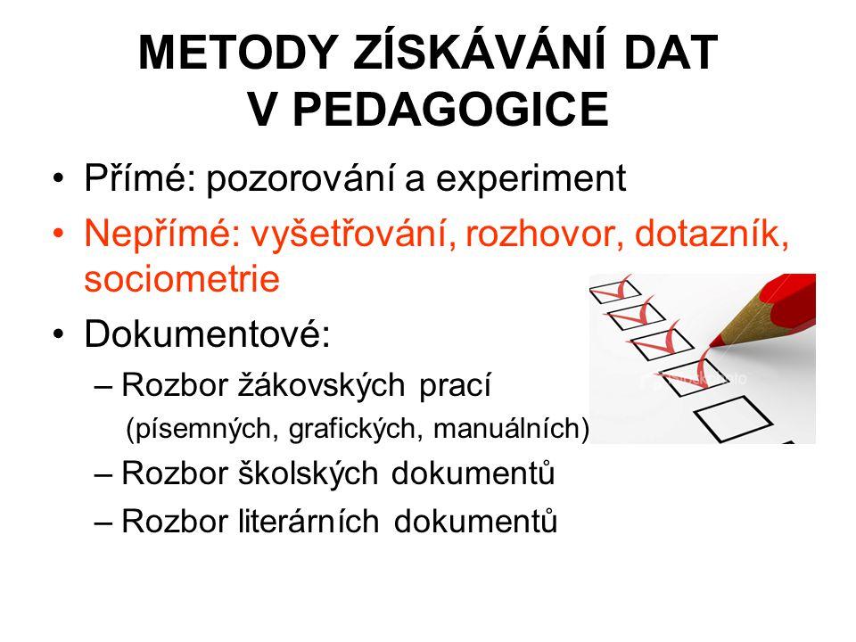 METODY ZÍSKÁVÁNÍ DAT V PEDAGOGICE
