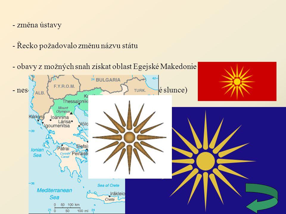 - změna ústavy - Řecko požadovalo změnu názvu státu. - obavy z možných snah získat oblast Egejské Makedonie.