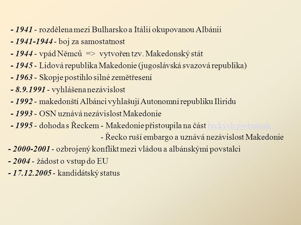 - 1941 - rozdělena mezi Bulharsko a Itálií okupovanou Albánii