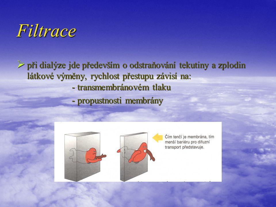 Filtrace při dialýze jde především o odstraňování tekutiny a zplodin látkové výměny, rychlost přestupu závisí na: - transmembránovém tlaku.
