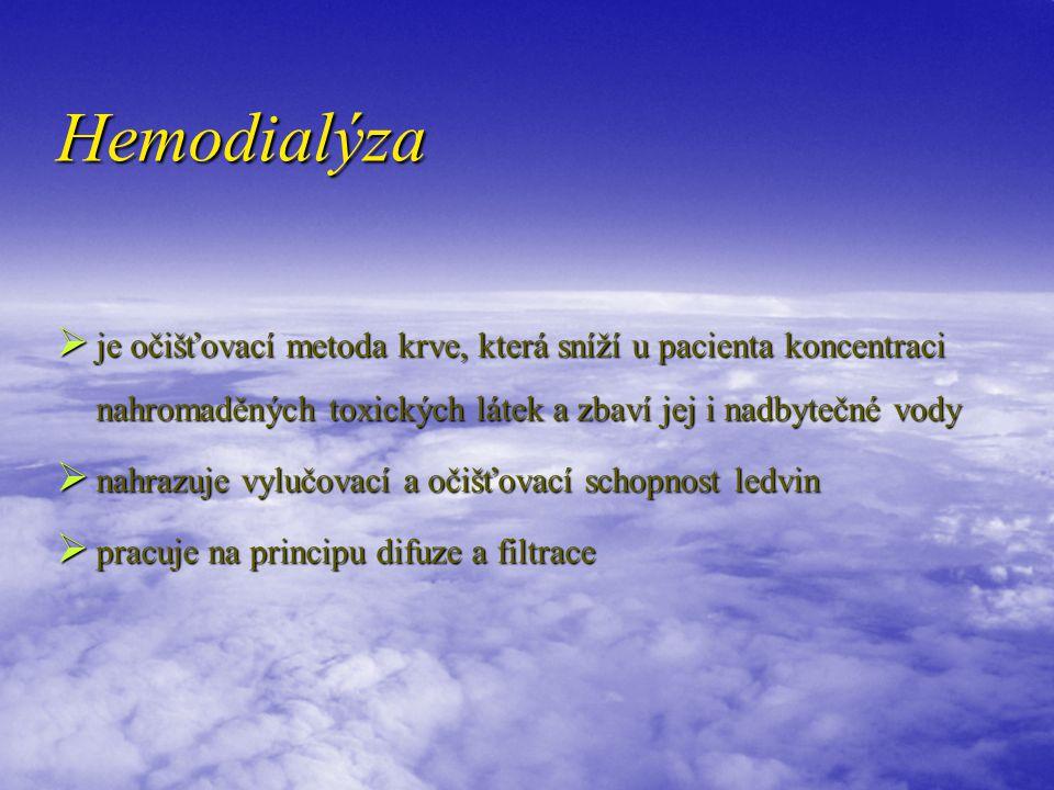 Hemodialýza je očišťovací metoda krve, která sníží u pacienta koncentraci nahromaděných toxických látek a zbaví jej i nadbytečné vody.