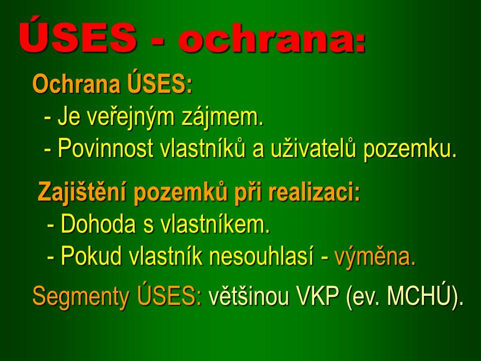 ÚSES - ochrana: Ochrana ÚSES: - Je veřejným zájmem.