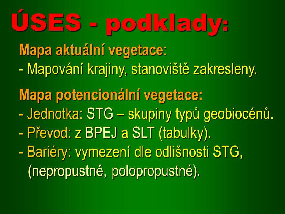 ÚSES - podklady: Mapa aktuální vegetace: