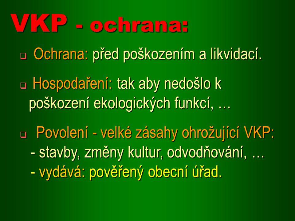 VKP - ochrana: Ochrana: před poškozením a likvidací.