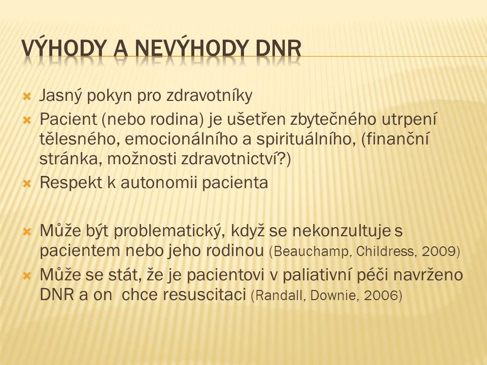 Výhody a nevýhody DNR Jasný pokyn pro zdravotníky