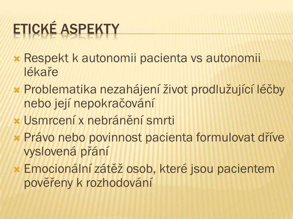 Etické aspekty Respekt k autonomii pacienta vs autonomii lékaře
