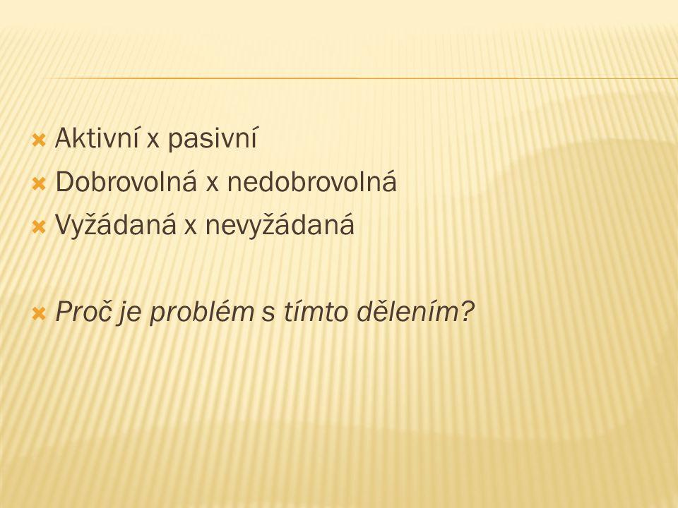 Aktivní x pasivní Dobrovolná x nedobrovolná Vyžádaná x nevyžádaná Proč je problém s tímto dělením