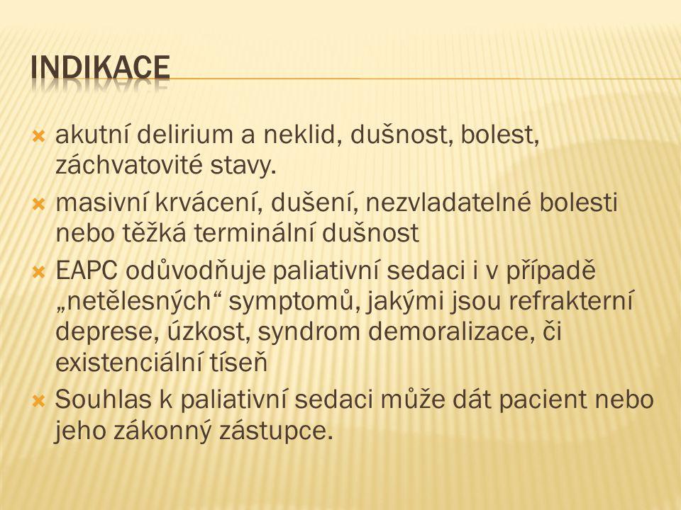 Indikace akutní delirium a neklid, dušnost, bolest, záchvatovité stavy.