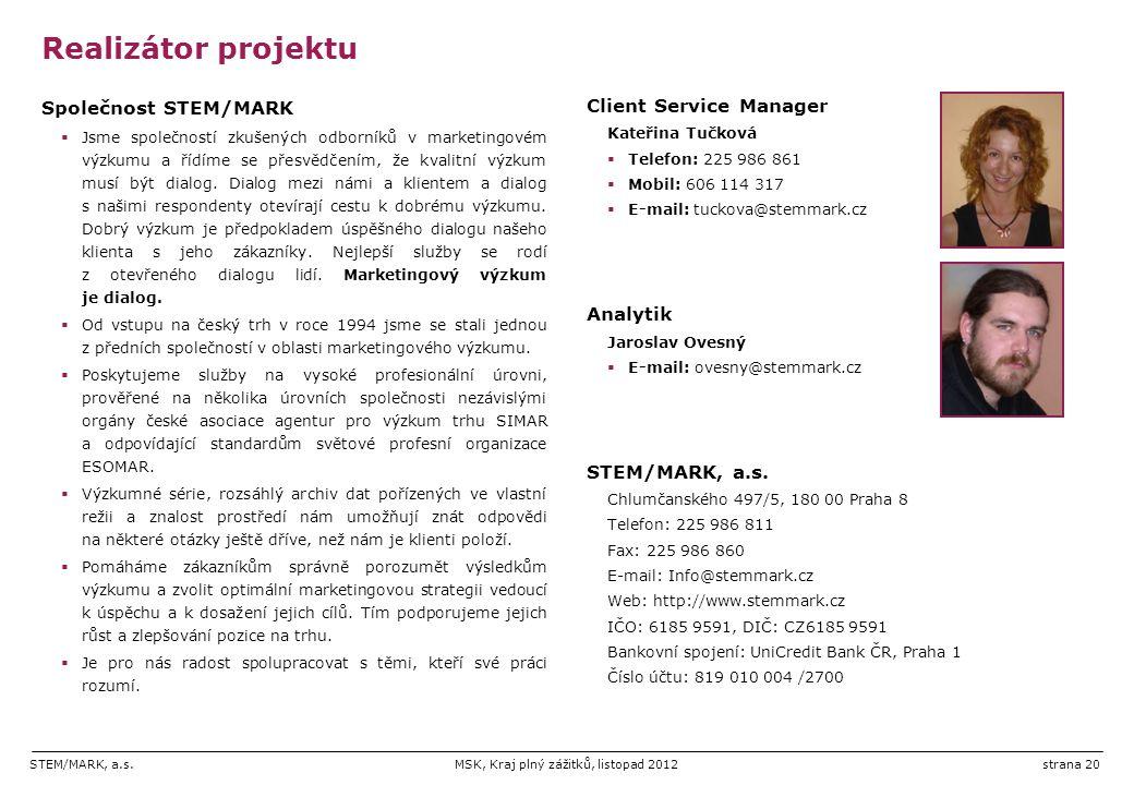 Realizátor projektu Společnost STEM/MARK Client Service Manager