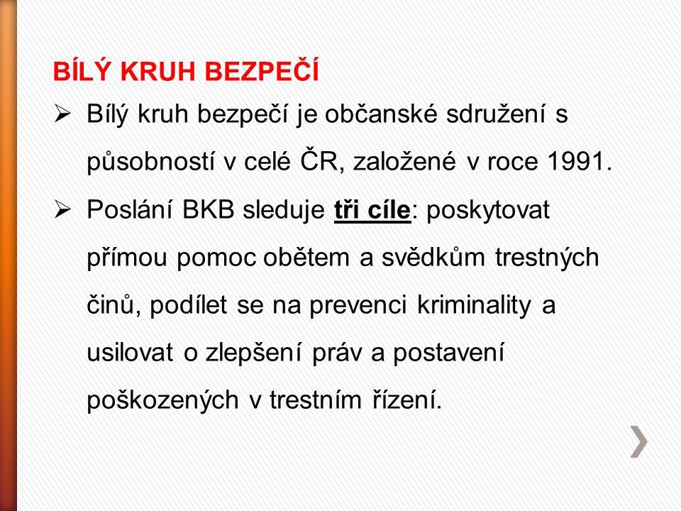BÍLÝ KRUH BEZPEČÍ Bílý kruh bezpečí je občanské sdružení s působností v celé ČR, založené v roce 1991.