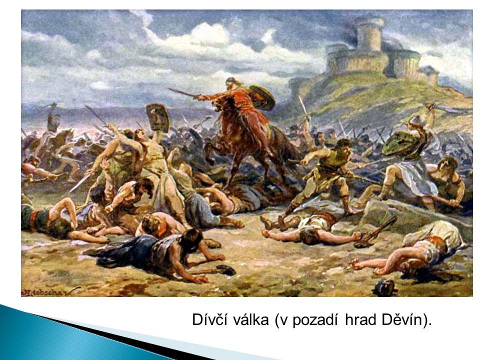 Dívčí válka (v pozadí hrad Děvín).