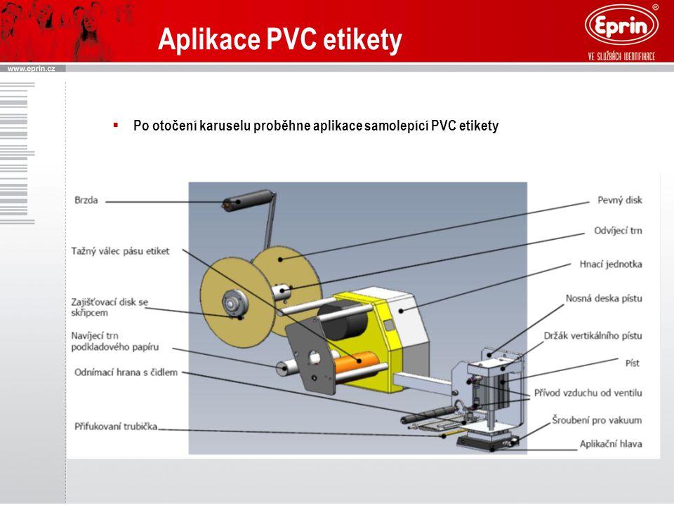 Aplikace PVC etikety Po otočení karuselu proběhne aplikace samolepící PVC etikety