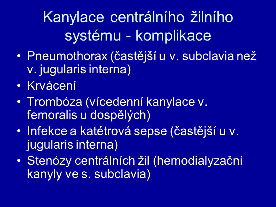 Kanylace centrálního žilního systému - komplikace