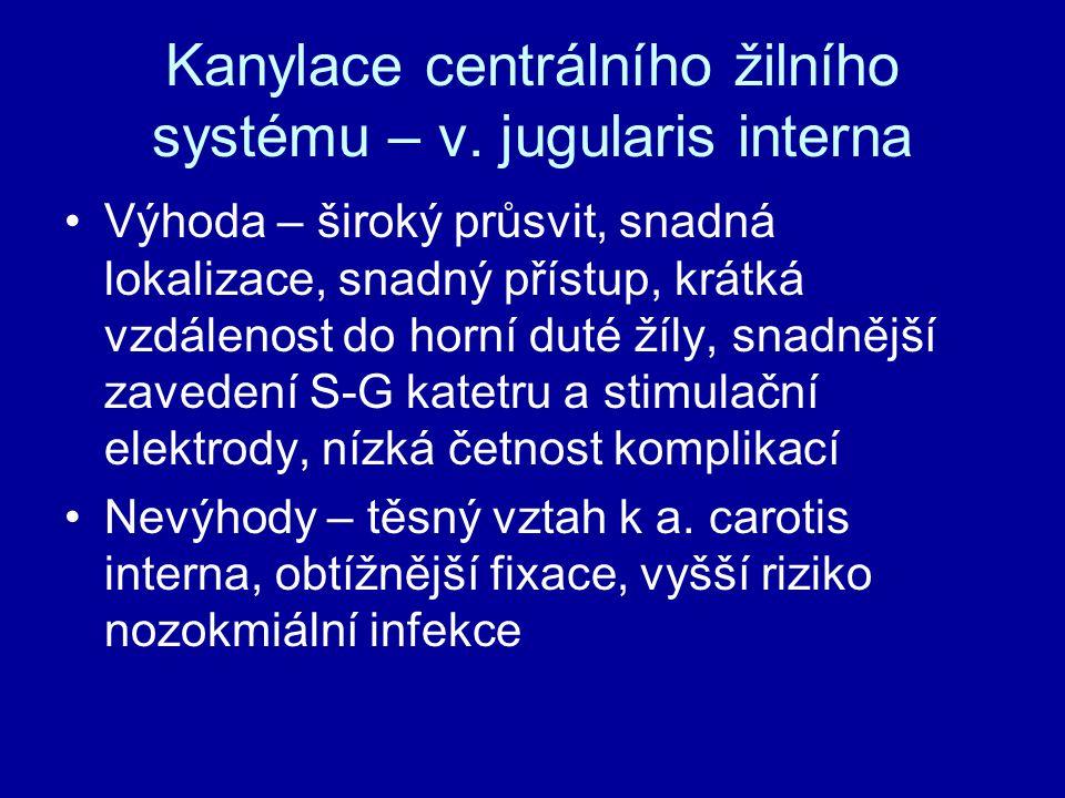 Kanylace centrálního žilního systému – v. jugularis interna
