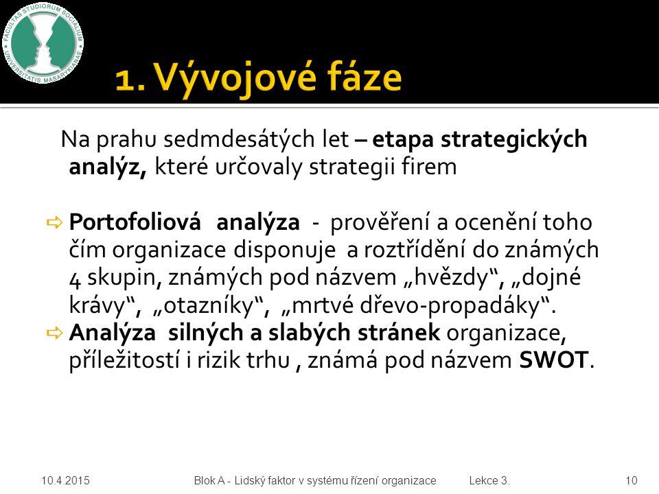 1. Vývojové fáze Na prahu sedmdesátých let – etapa strategických analýz, které určovaly strategii firem.
