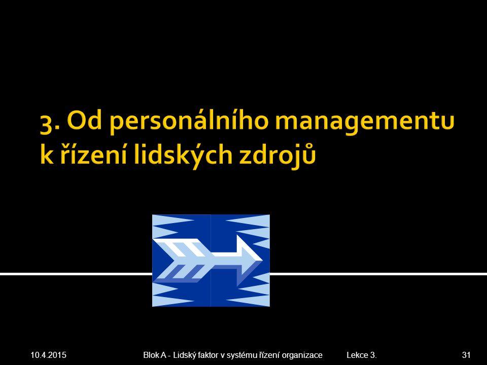 3. Od personálního managementu k řízení lidských zdrojů