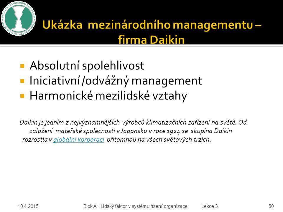 Ukázka mezinárodního managementu – firma Daikin
