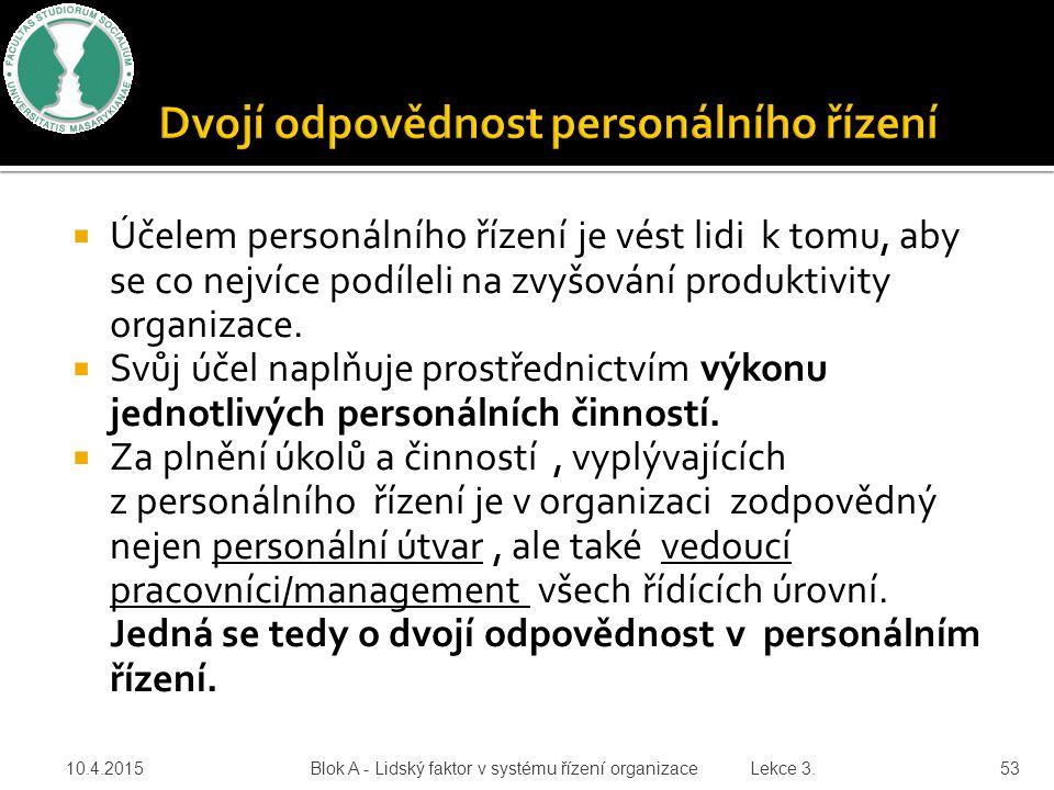 Dvojí odpovědnost personálního řízení