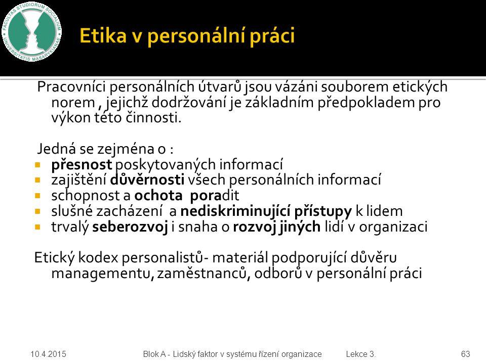Etika v personální práci