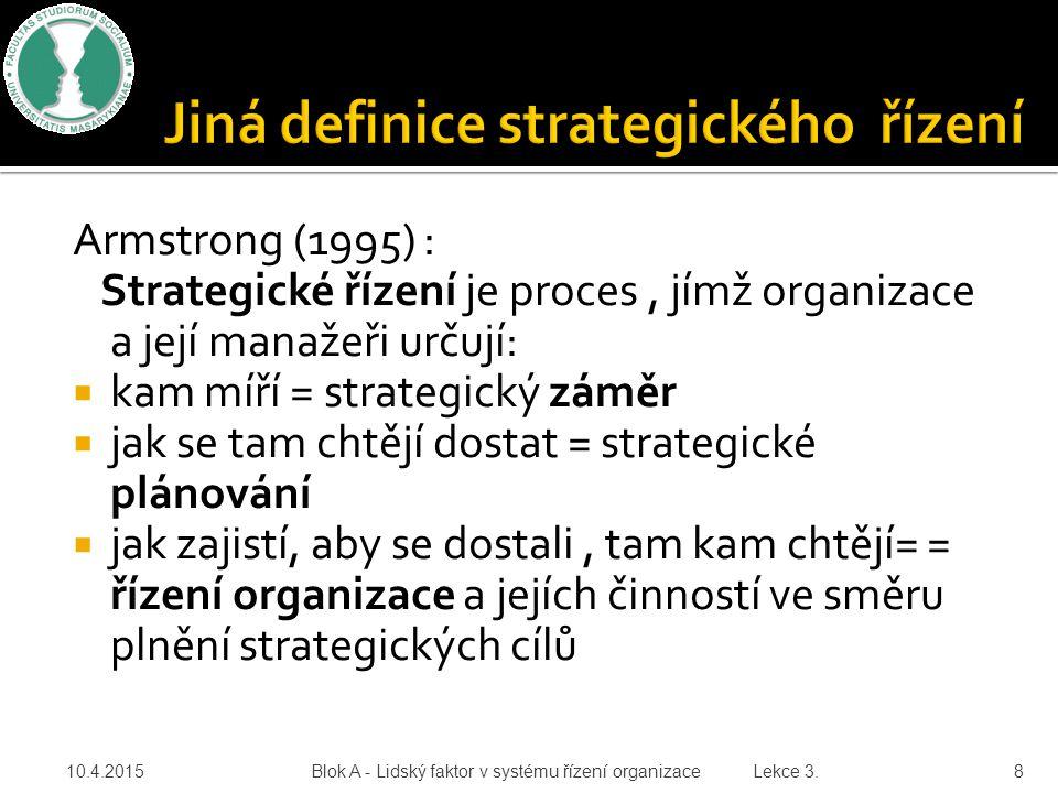 Jiná definice strategického řízení