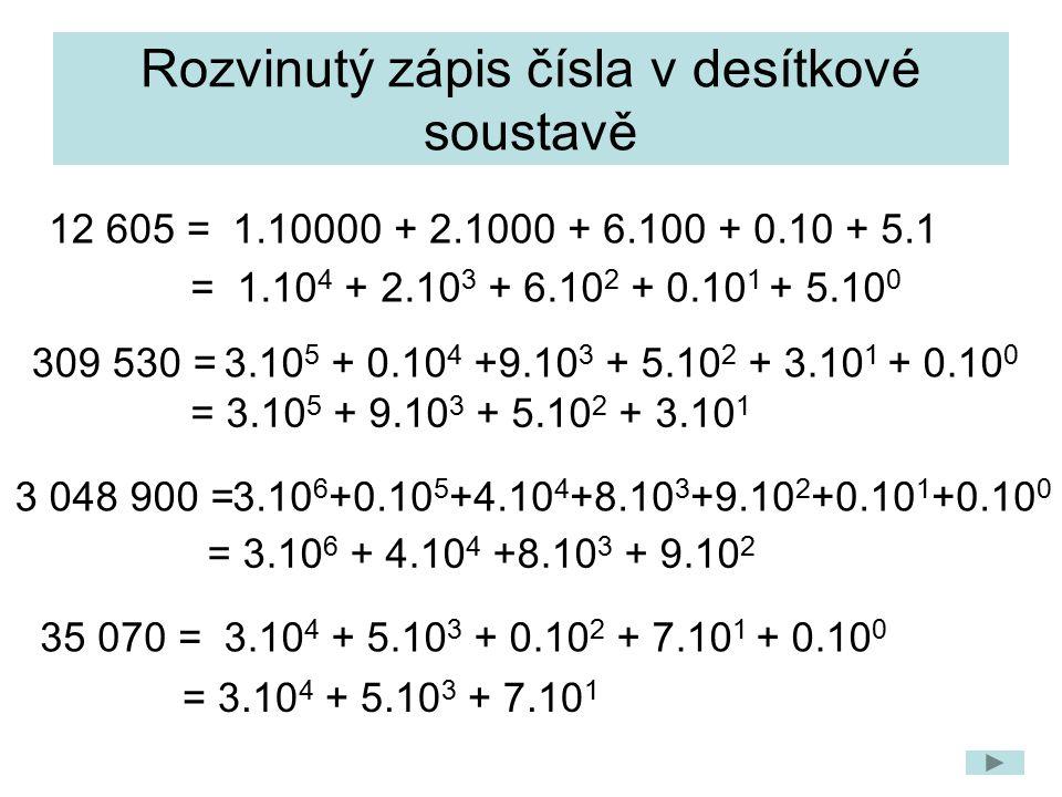 Rozvinutý zápis čísla v desítkové soustavě