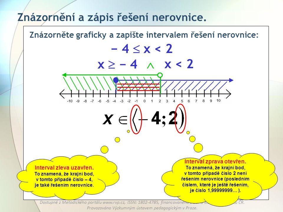 Znázorněte graficky a zapište intervalem řešení nerovnice:
