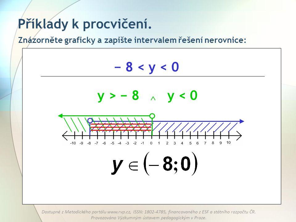 Příklady k procvičení. − 8 < y < 0 y > − 8 y < 0