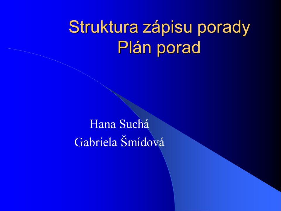 Struktura zápisu porady Plán porad