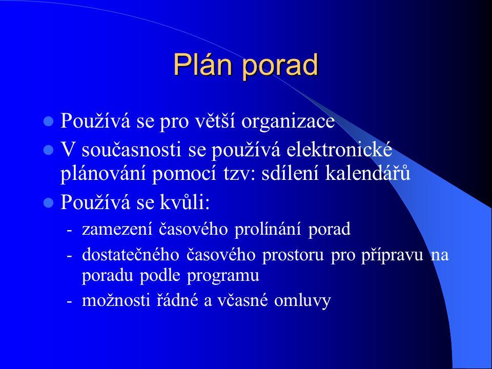 Plán porad Používá se pro větší organizace