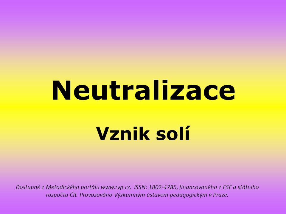 Neutralizace Vznik solí