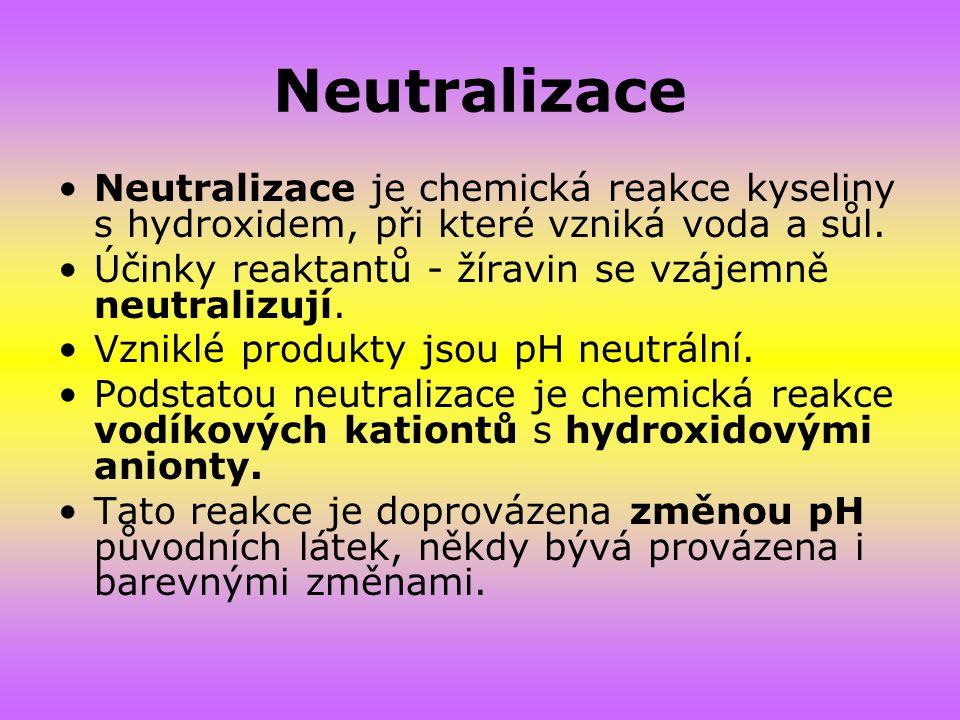 Neutralizace Neutralizace je chemická reakce kyseliny s hydroxidem, při které vzniká voda a sůl.