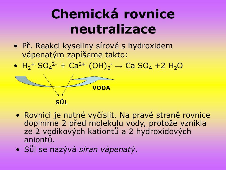 Chemická rovnice neutralizace