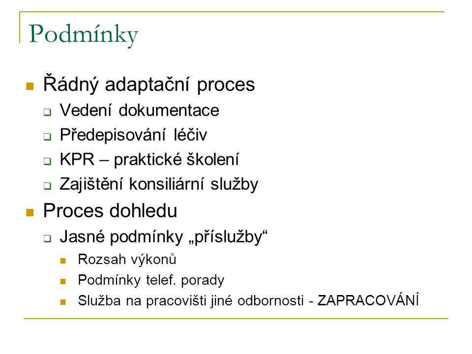 Podmínky Řádný adaptační proces Proces dohledu Vedení dokumentace