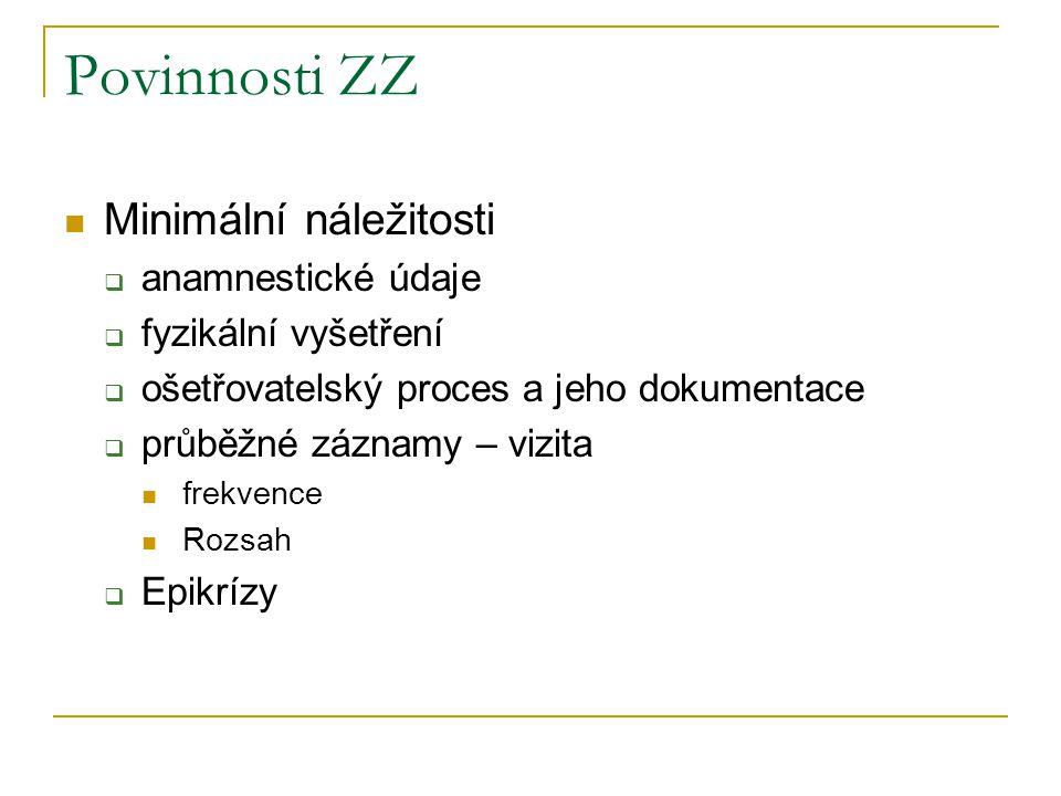 Povinnosti ZZ Minimální náležitosti anamnestické údaje
