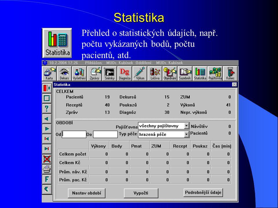Statistika Přehled o statistických údajích, např. počtu vykázaných bodů, počtu pacientů, atd.