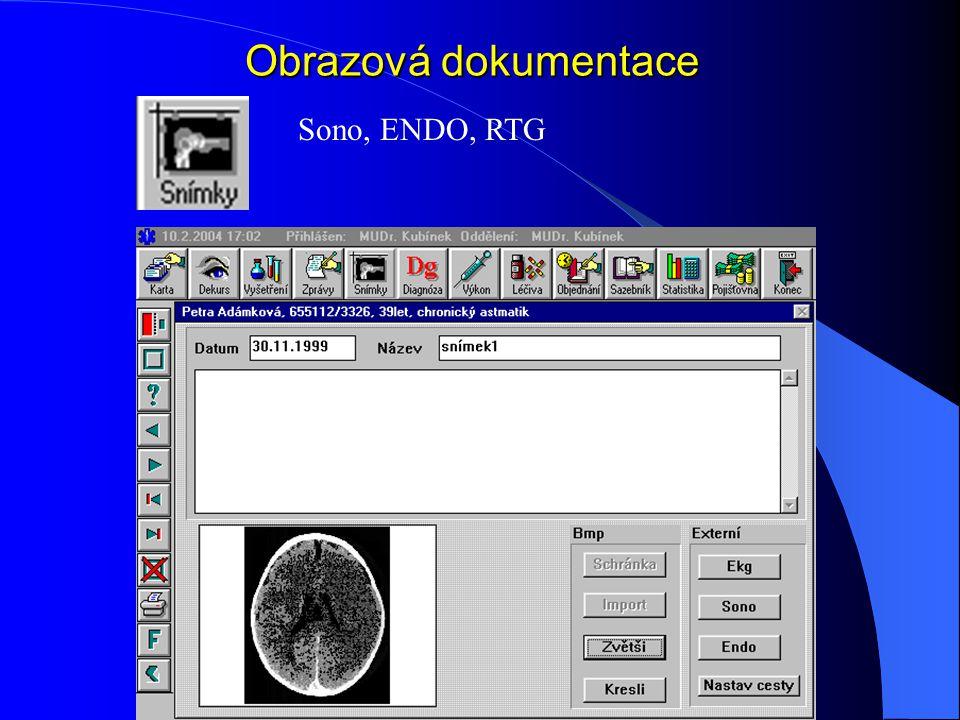 Obrazová dokumentace Sono, ENDO, RTG
