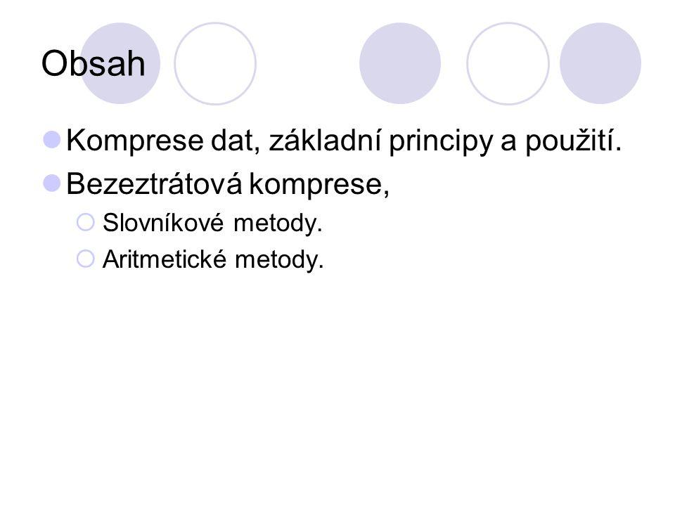 Obsah Komprese dat, základní principy a použití.