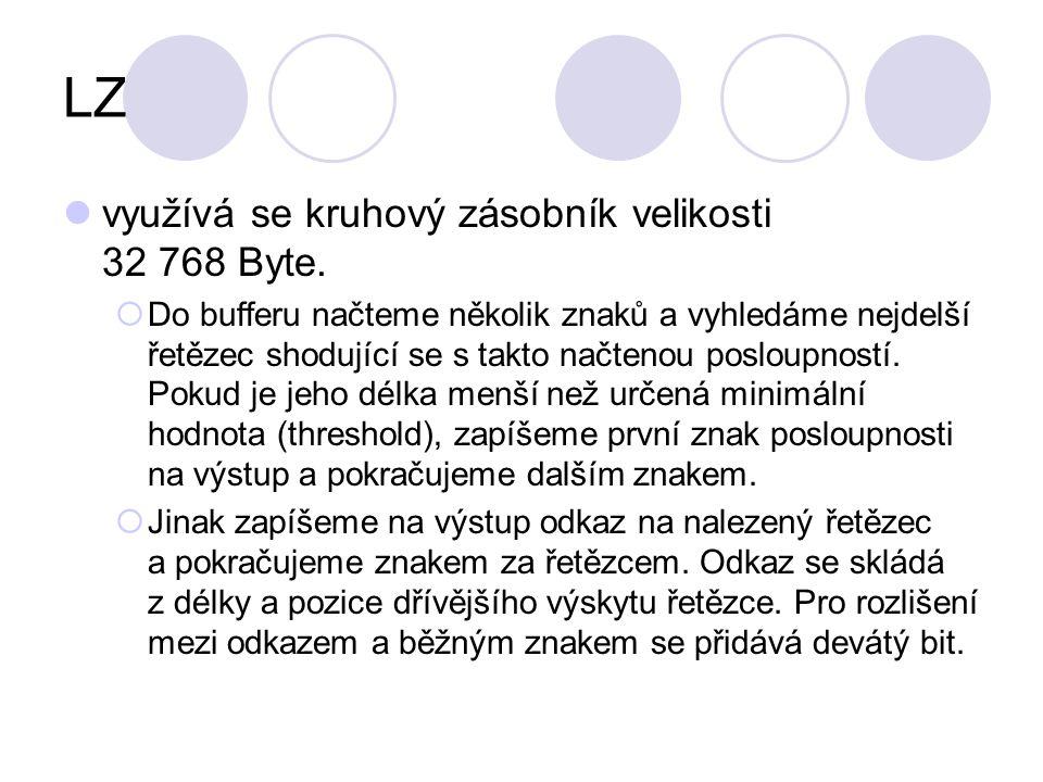 LZ využívá se kruhový zásobník velikosti 32 768 Byte.