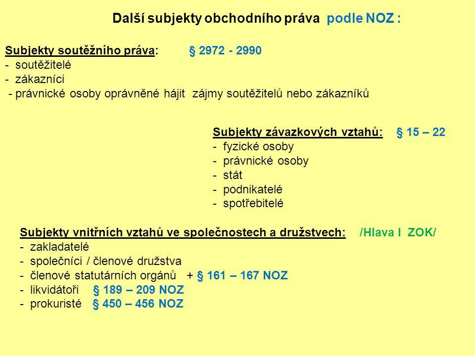 Další subjekty obchodního práva podle NOZ :