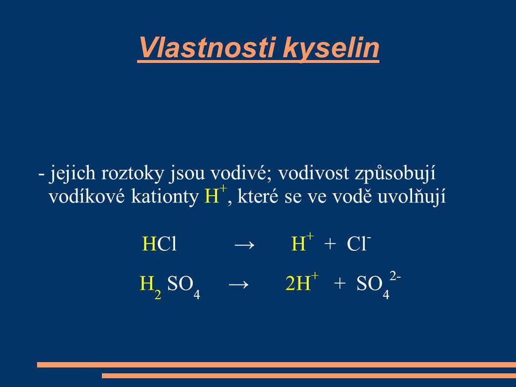 Vlastnosti kyselin - jejich roztoky jsou vodivé; vodivost způsobují