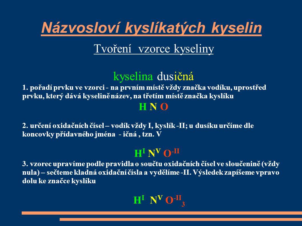 Názvosloví kyslíkatých kyselin