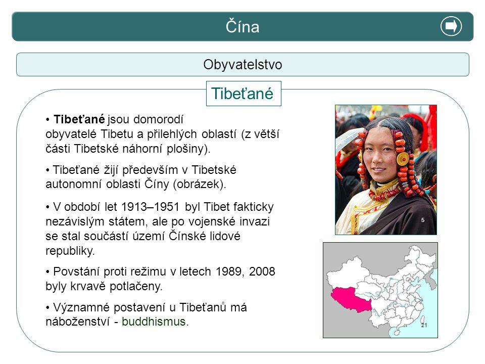 X. Zajímavosti Čína Tibeťané Obyvatelstvo