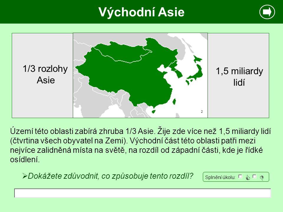 Východní Asie 1/3 rozlohy 1,5 miliardy Asie lidí