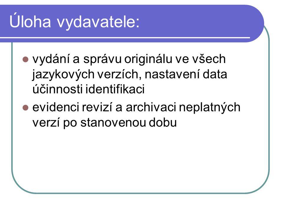 Úloha vydavatele: vydání a správu originálu ve všech jazykových verzích, nastavení data účinnosti identifikaci.