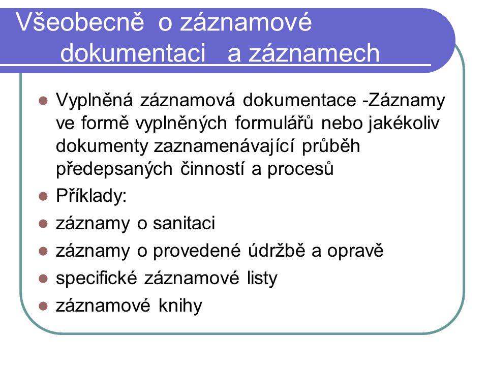Všeobecně o záznamové dokumentaci a záznamech