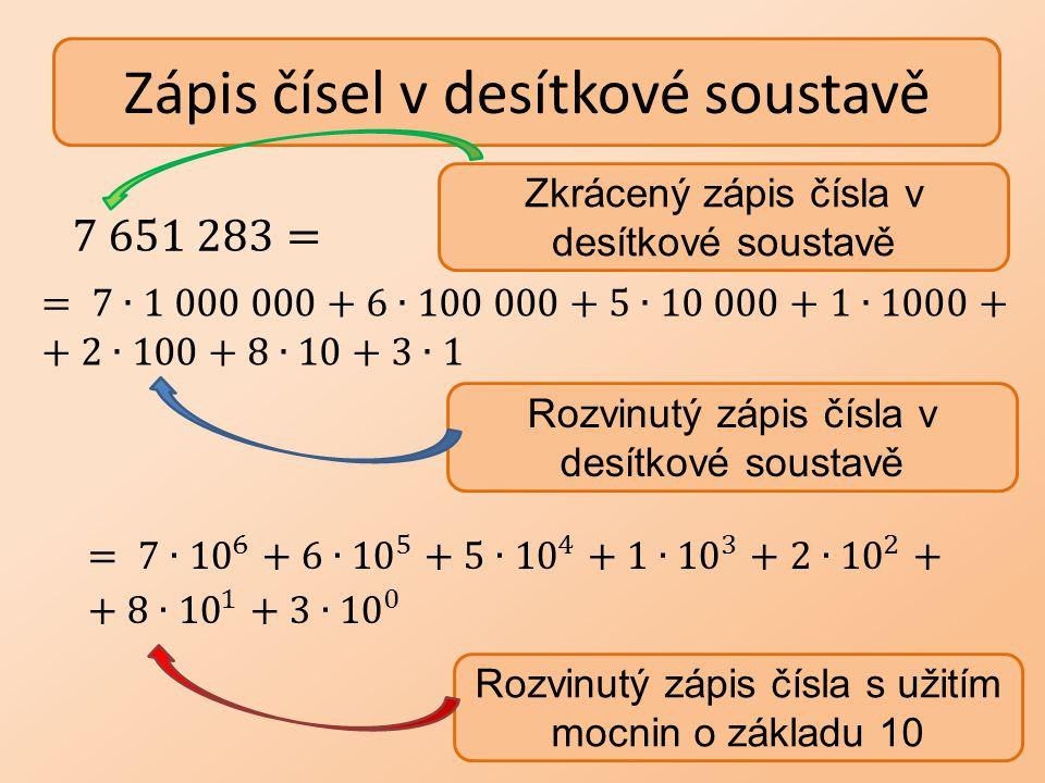 Zápis čísel v desítkové soustavě