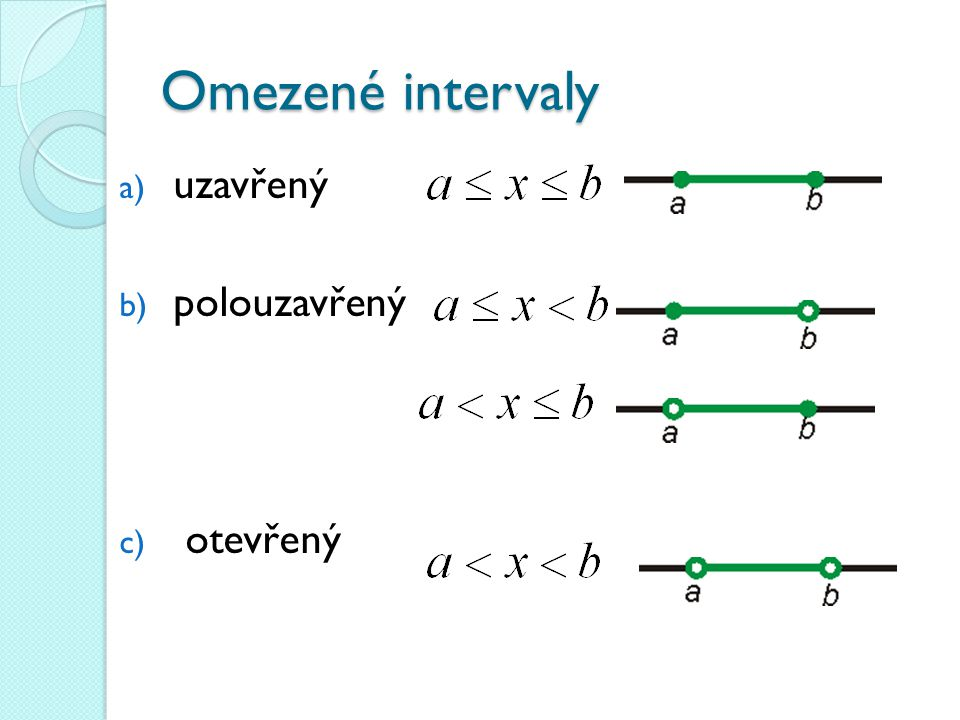 Omezené intervaly uzavřený polouzavřený otevřený